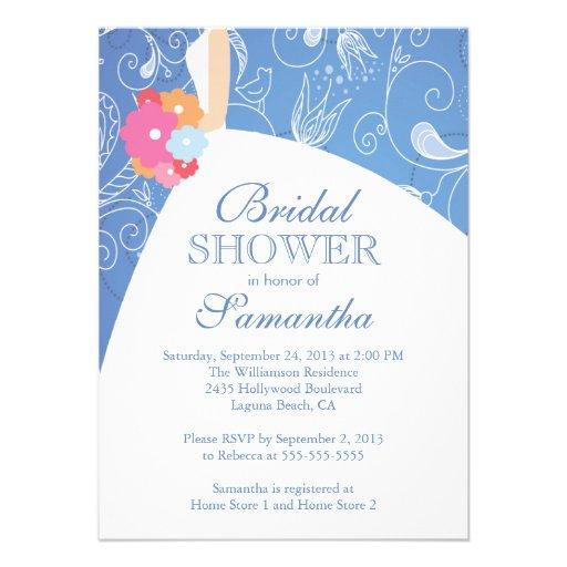 Beautiful Blue Modern Bride Bridal Shower Personalized Invitation