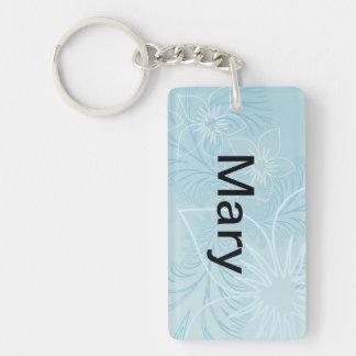 Beautiful Blue Name Double-Sided Rectangular Acrylic Key Ring