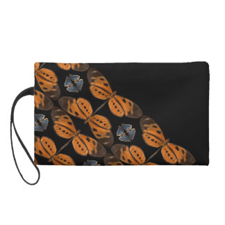Beautiful Blue & Orange Butterfly Wristlet