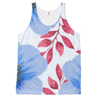 Beautiful Blue Poppy Flowers Pattern All-Over Print Singlet