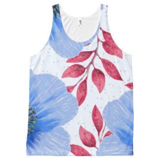 Beautiful Blue Poppy Flowers Pattern All-Over Print Tank Top