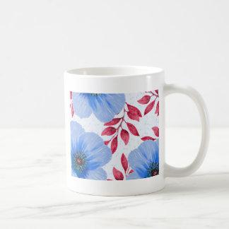 Beautiful Blue Poppy Flowers Pattern Coffee Mug