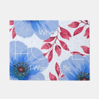 Beautiful Blue Poppy Flowers Pattern Doormat