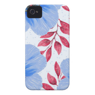 Beautiful Blue Poppy Flowers Pattern iPhone 4 Cover