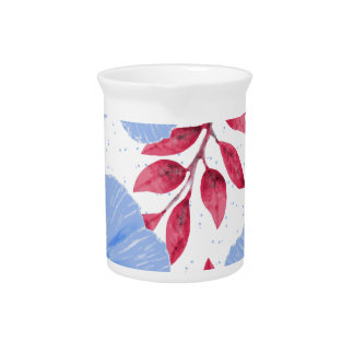 Beautiful Blue Poppy Flowers Pattern Pitcher