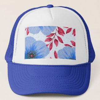 Beautiful Blue Poppy Flowers Pattern Trucker Hat
