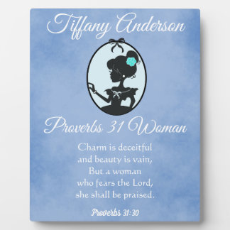 Beautiful Blue Proverbs 31 Woman Silhouette Plaque