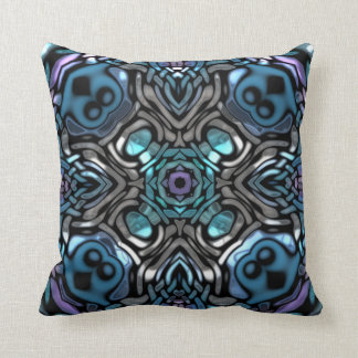 Beautiful Blue, Purple & Silver Pattern Throw Pillow