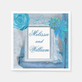 Beautiful Blue Rustic Wedding Paper Napkin