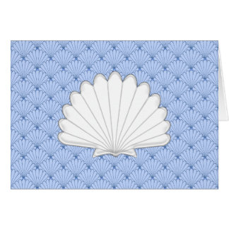 Beautiful Blue Scallop Shell Repeating Pattern Greeting Card