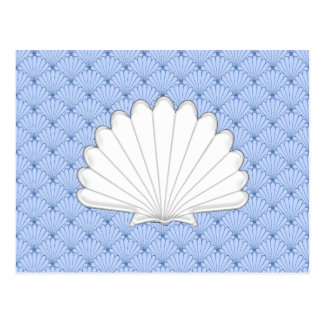 Beautiful Blue Scallop Shell Repeating Pattern Post Cards