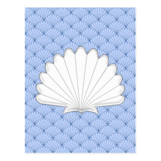 Beautiful Blue Scallop Shell Repeating Pattern Postcards