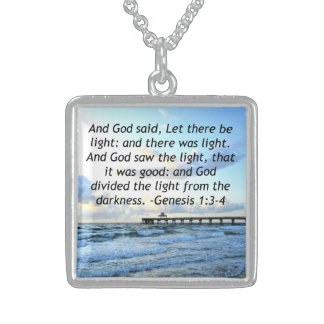 BEAUTIFUL BLUE SKIES GENESIS 1:3 PHOTO DESIGN STERLING SILVER NECKLACE