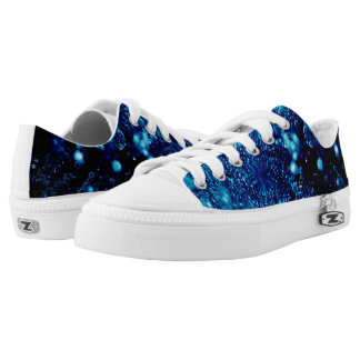 Beautiful blue sparkles Frozen bubbles Low Tops