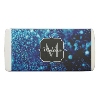 Beautiful blue sparkles Frozen bubbles Monogram Eraser