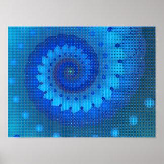 Beautiful Blue Spiral Fine Fractal Art Poster