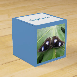 Beautiful Blue Spotted Butterfly Custom Favor Box