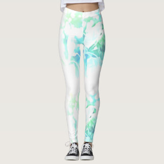 Beautiful blue sunflower on white leggings