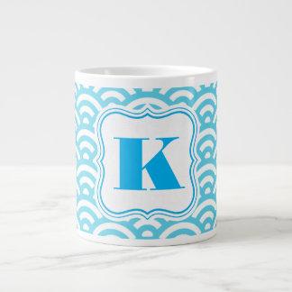 Beautiful Blue Symmetry w/Monogram Large Coffee Mug