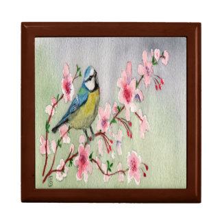 Beautiful Blue Tit Bird On Cherry Blossom Tree Gift Box