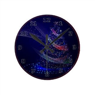 Beautiful Blue Tree Round Clock