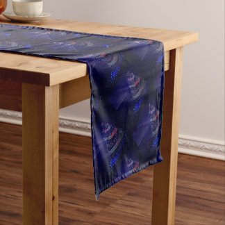 Beautiful Blue Tree Short Table Runner
