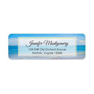 Beautiful Blue Tropical Beach Return Address Label