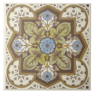 Beautiful Blue Victorian Floral Reproduction Tile