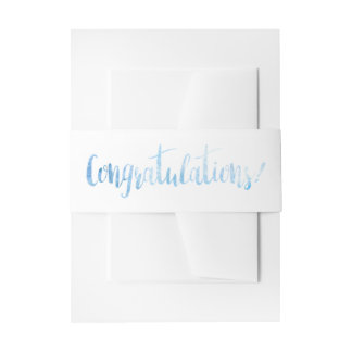 Beautiful Blue Watercolor Congratulations Band Invitation Belly Band