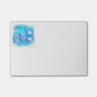 Beautiful Blue Watercolor Water Surfboards art Post-it Notes