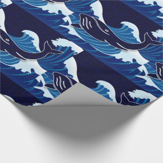 Beautiful Blue Waves with Swimming Whales Wrapping Paper