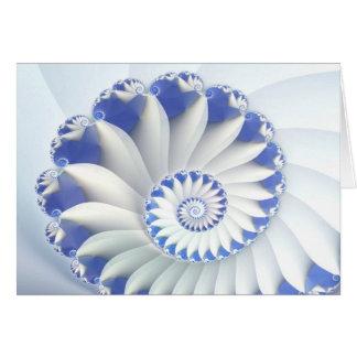Beautiful Blue & White Sea Shell Fine Fractal Art Greeting Card