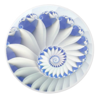 Beautiful Blue & White Sea Shell Fine Fractal Art Ceramic Knob