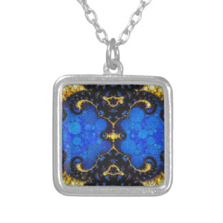 Beautiful Blue Yellow Abstract Silver Plated Necklace