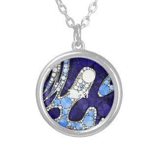 Beautiful Blue Yellow Bling Abstract Round Pendant Necklace