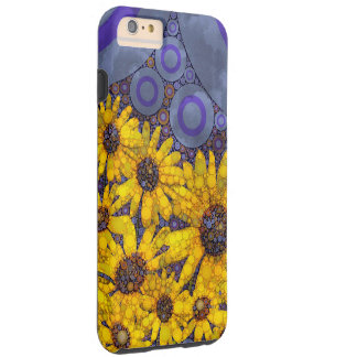 Beautiful Blue Yellow Sunflowers Abstract Tough iPhone 6 Plus Case