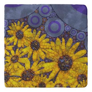 Beautiful Blue Yellow Sunflowers Abstract Trivet
