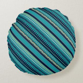 Beautiful Blues Geometric Stripe Round Cushion
