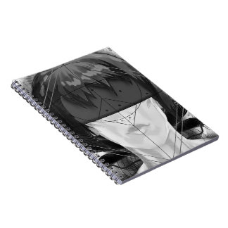 Beautiful BnW Fractal Feathers for Major Motoko Notebooks