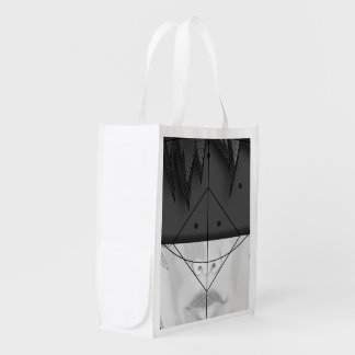 Beautiful BnW Fractal Feathers for Major Motoko Reusable Grocery Bag