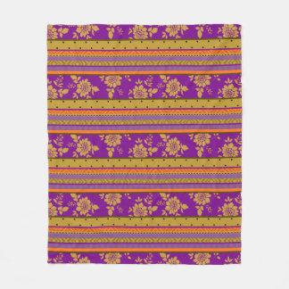 Beautiful Boho Chic Striped Floral Pattern Fleece Blanket