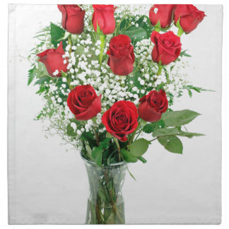 Beautiful Bouquet of Red Roses Cloth Napkins