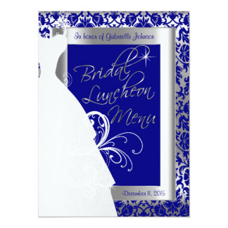 Beautiful Bridal Menu in Silver and Royal Blue 14 Cm X 19 Cm Invitation Card