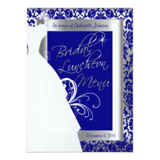 Beautiful Bridal Menu in Silver and Royal Blue 14 Cm X 19 Cm Invitation Card