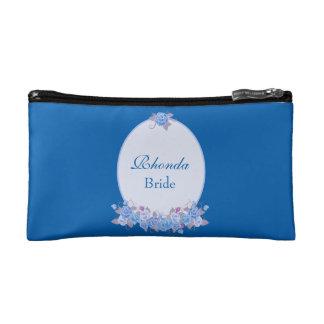 Beautiful Bride Blue Floral Makeup Bag