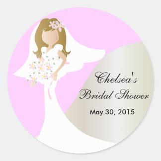 Beautiful Bride Bridal Shower Round Sticker