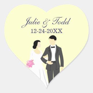 Beautiful Bride & Groom Wedding Heart Sticker
