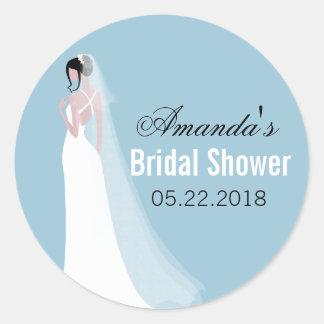 Beautiful Bride Personalized Bridal Shower Classic Round Sticker