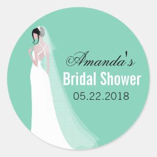 Beautiful Bride Personalized Bridal Shower Round Sticker