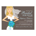 Beautiful Bride w Bouquet Bridal Shower Invitation